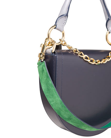 Leather Coin Bag w/Chain Strap, Navy