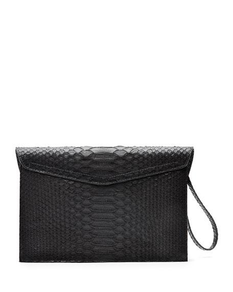 Bobby Matte Python Clutch Bag, Black