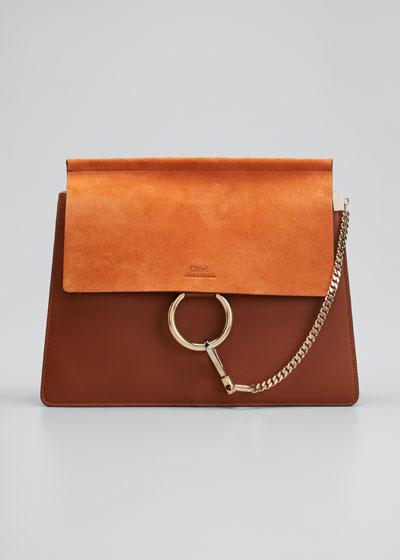 Faye Medium Leather & Suede Shoulder Bag