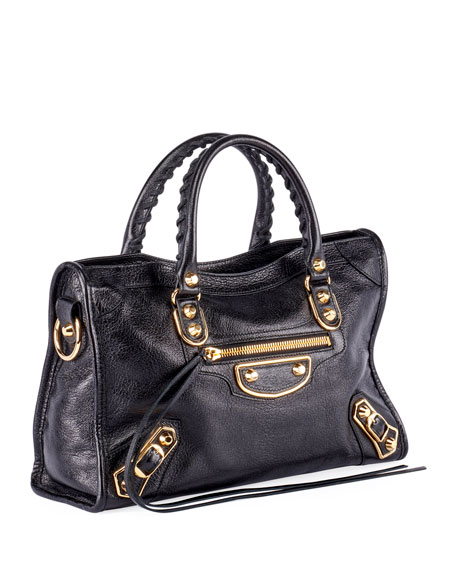 Classic Metallic Edge City Small Bag, Black/Gold