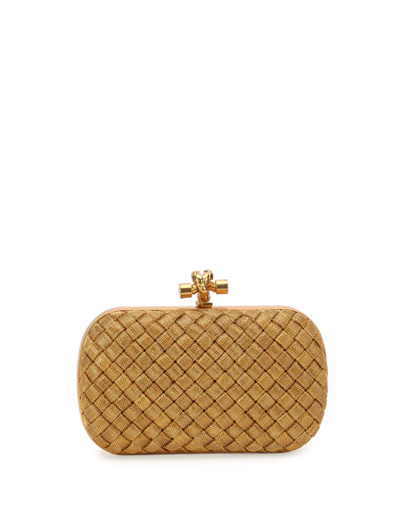 Image 1 of 1: Metal Intrecciato Knot Frame Clutch, Golden