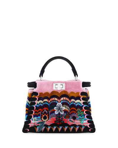 Peekaboo Mini Embroidered Velvet Bag, Black Multi