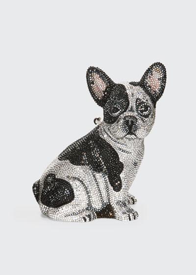 Fred French Bulldog Crystal Clutch Bag  Silver
