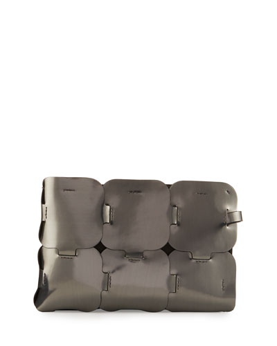 Dragon Leather Clutch Bag, Gunmetal