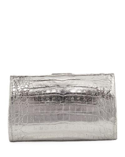 Metallic Crocodile Slim Frame Clutch Bag