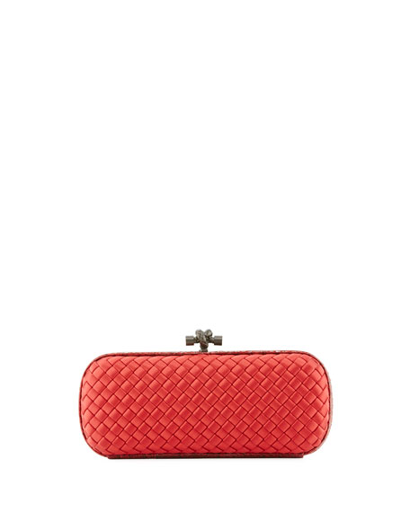 Elongated Knot Intrecciato Minaudiere Bag, Red