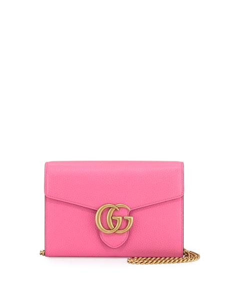 7860effa72 GG Marmont Leather Mini Chain Bag Pink