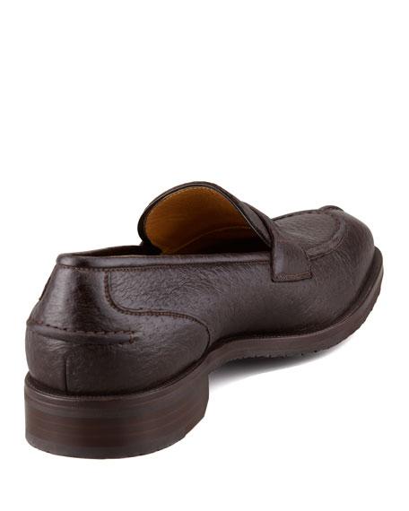 Split-Toe Peccary Penny Loafer, Dark Brown