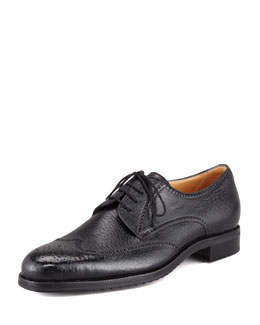 Peccary 4-Eyelet Wing-Tip Blucher, Black