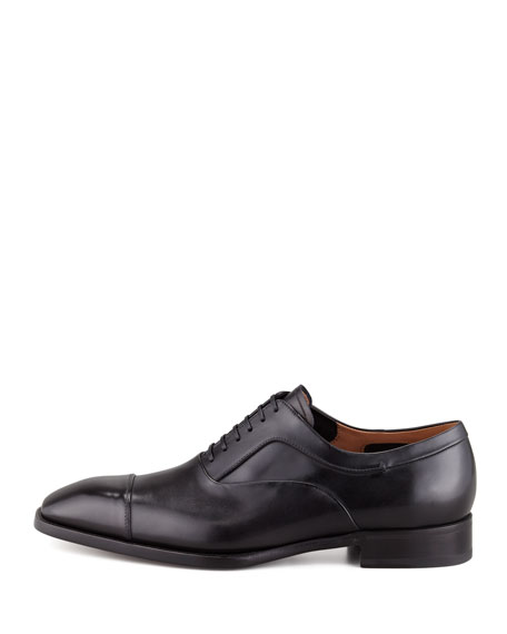Cap-Toe Lace-Up Oxford, Black
