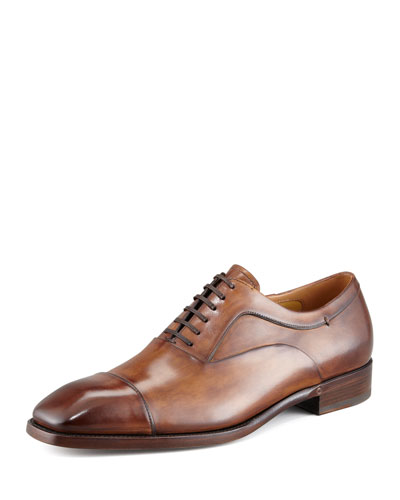 Cap-Toe Lace-Up Oxford, Tan