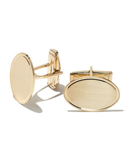 14k Engraveable Oval Cuff Links