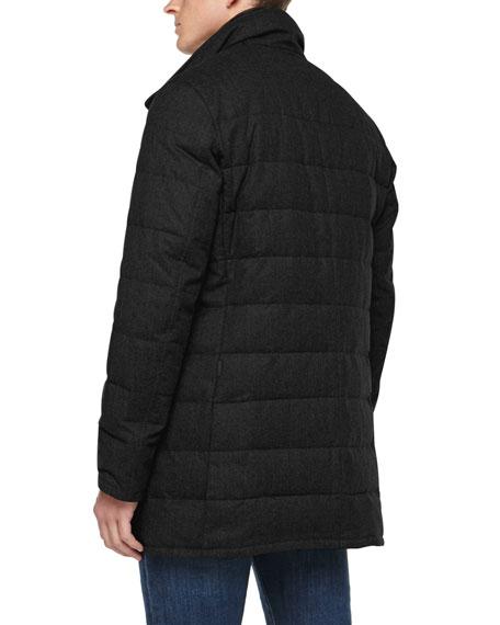 Vallier Woven Flannel Topcoat, Black