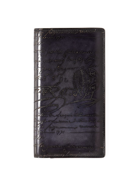 Ebene Script Leather Long Wallet, Black