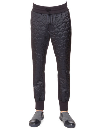 Paneled Onion-Quilted Sweatpants