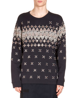 Geometric-Embroidered Sweatshirt