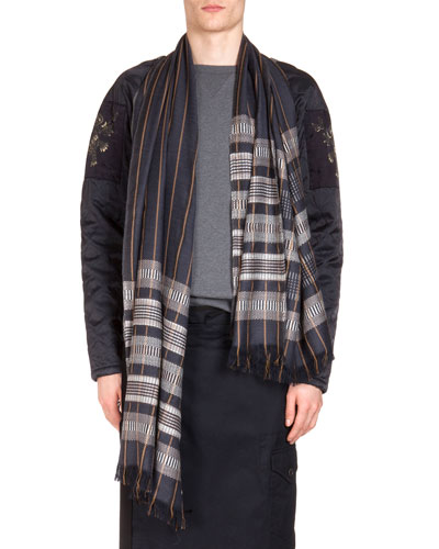 Check-Striped Woven Scarf