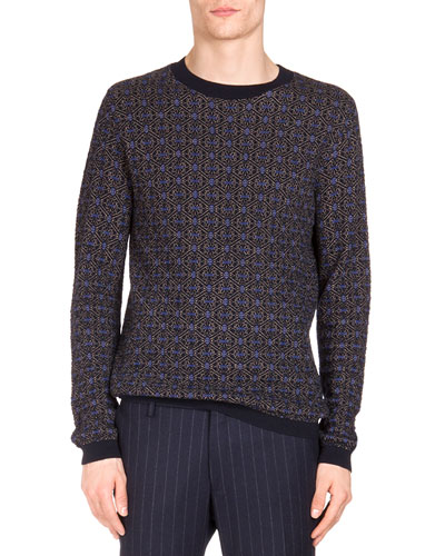Lattice Jacquard Crewneck Sweater