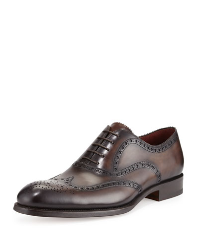 Burnished Leather Wing-Tip Oxford, Brown