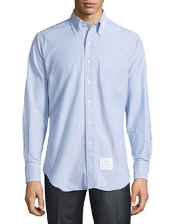 Striped-Collar Oxford Shirt