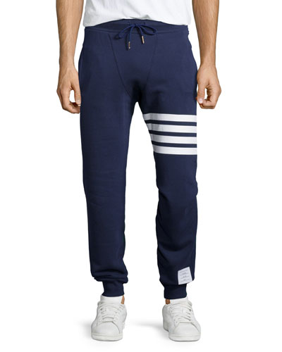Terry Striped-Detail Drawstring Sweatpants, Navy