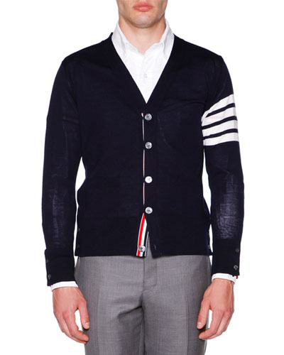 Striped-Arm Button Cardigan, Navy