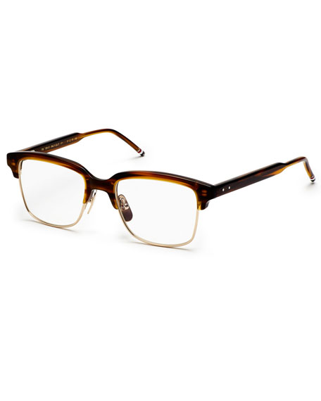 12K Gold & Walnut Acetate Half-Rim Glasses