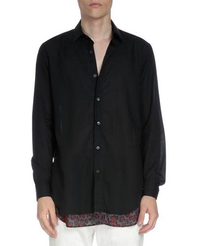 Long-Sleeve Button-Down Shirt w/Leopard-Print Underlay
