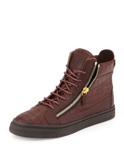 Croc-Embossed Leather High-Top Sneaker, Burgundy