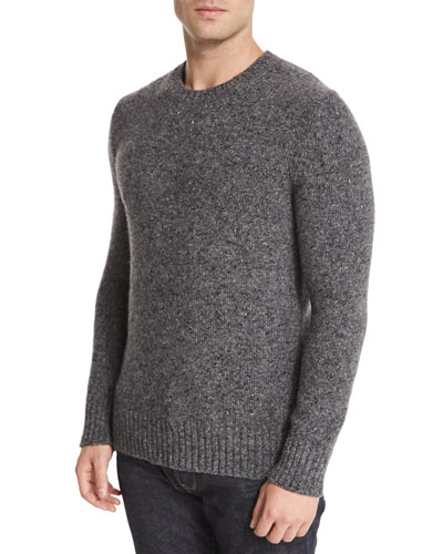 Marled Cashmere Crewneck Sweater, Gray