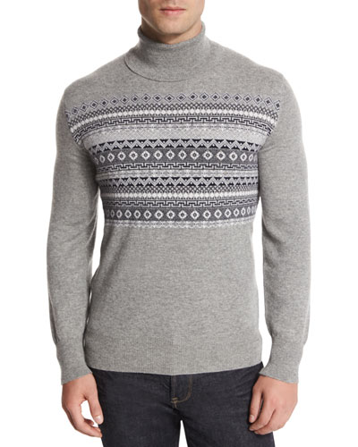 Fair Isle Cashmere Turtleneck Sweater, Multi