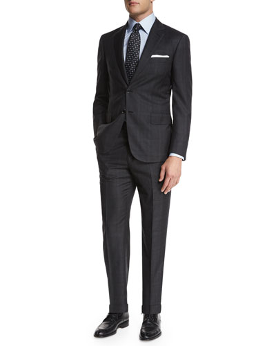 Plaid Two-Piece Suit, Charcoal
