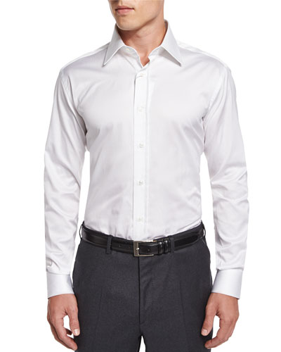 Basic Cotton Dress Shirt, White