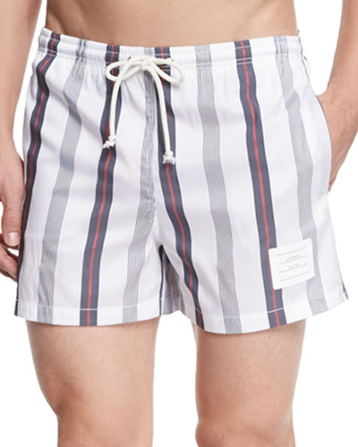 Short-Length Seersucker Swim Trunks, Navy