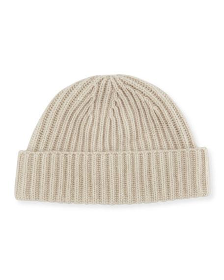 PORTOLANO Men'S Ribbed Cashmere Beanie Hat in Gray
