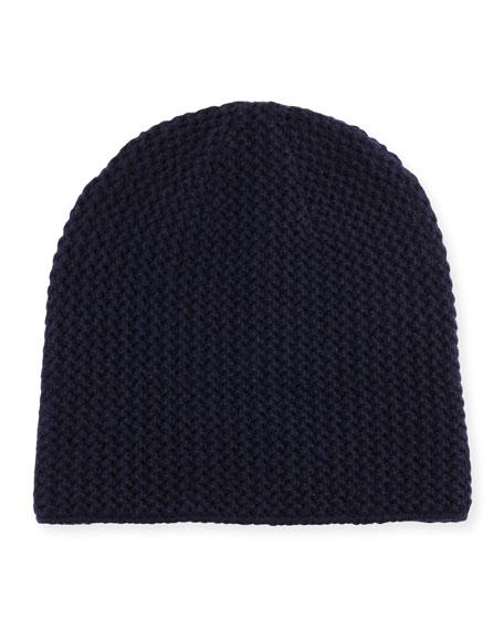 Knit Cashmere Beanie, Navy
