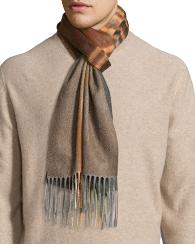 Large Degrade Plaid Cashmere Scarf, Brown