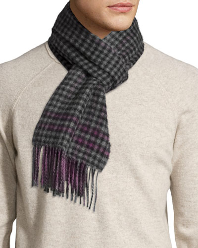 Reversible Gingham/Solid Cashmere Scarf, Purple