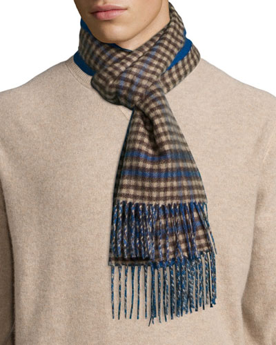 Reversible Gingham/Solid Cashmere Scarf, Blue