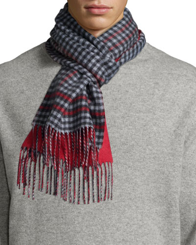 Men's Reversible Gingham/Solid Cashmere Scarf, Red