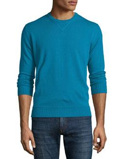 Knit Crewneck Cashmere Sweatshirt, Blue