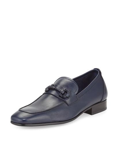 Livingstone Leather Gancini Loafer w/ Tonal Bit, Blue