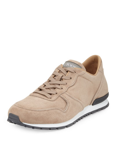 Suede Lace-Up Trainer Sneaker, Beige