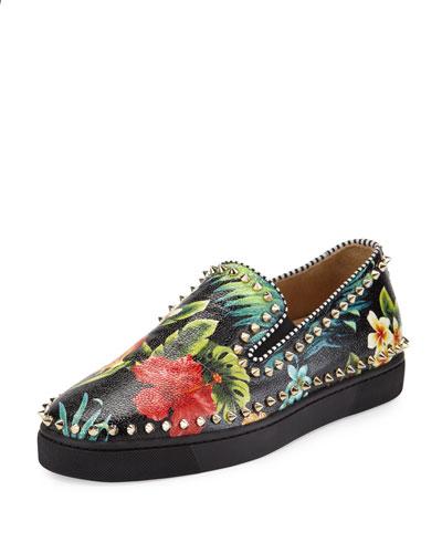 Pik Boat Floral-Print Skate Sneaker, Black