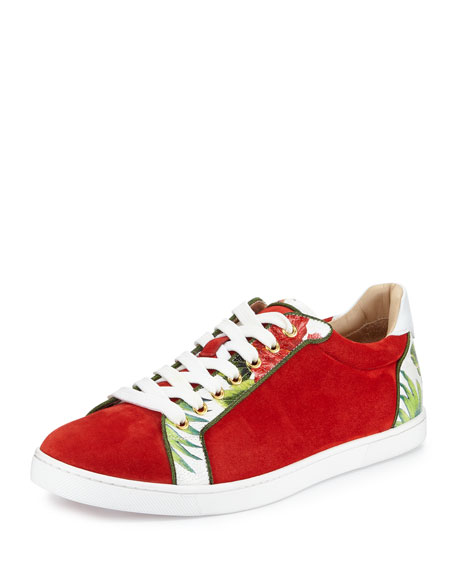 knock off louis vuitton shoes - Christian Louboutin Seava Flat Suede Sneaker, Red
