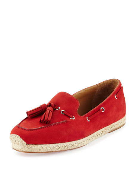 Christian Louboutin Leonell Suede Loafer Espadrille, Red