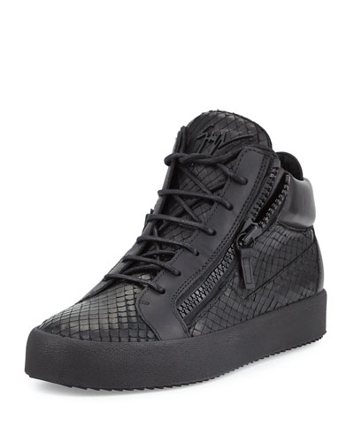 Men's Laser Embossed Leather High-Top Sneaker, Black