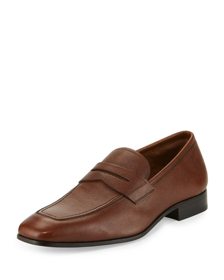 Louis Pebbled Leather Penny Loafer, Tan