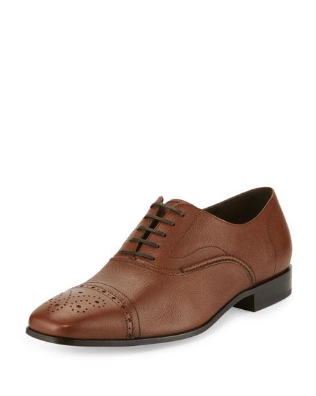 Lane Cap-Toe Leather Oxford, Tan