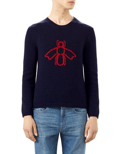 Crewneck Bee Jacquard Sweater, Red/Blue